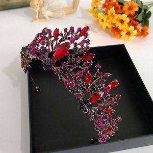 Red Pink Crystal Rhinestone Bronze tone Tiara